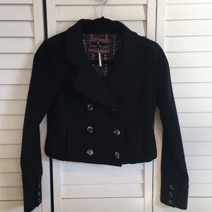 Free People Cropped Wool Pea Coat - Size 2